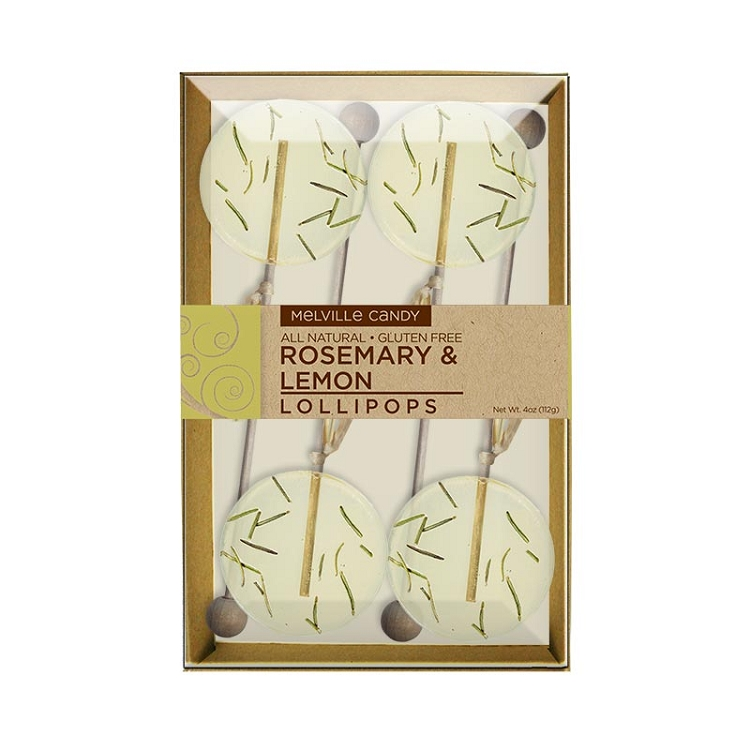 Rosemary lemon natural lollipops gift sets containing