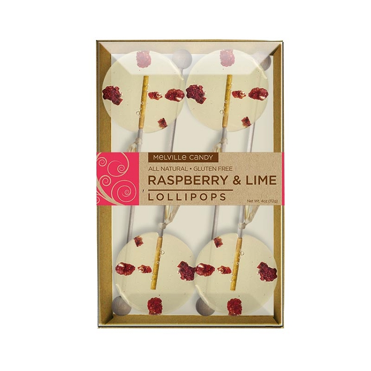 Raspberry lime natural lollipops gift sets containing